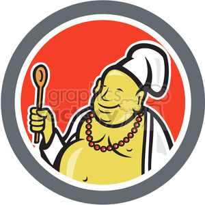 chef buddha sitting front CIRC clipart. Commercial use image # 390396