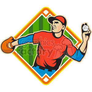 baseballfielder throwingball side DIAMOND HALF clipart. Royalty-free image # 390416