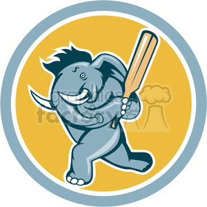 elephant playing cricket batting stance side clipart. Commercial use image # 390428