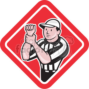 american football referee holding illegal use hands clipart. Commercial use image # 390484
