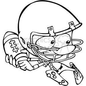 black and white football player running clipart. Commercial use image # 390652