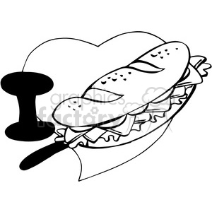 I love sandwiches in black and white clipart. Commercial use image # 390712