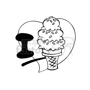I love ice cream outline clipart. Royalty-free image # 390718
