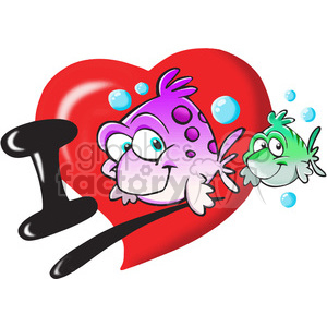 I Love fish cartoon