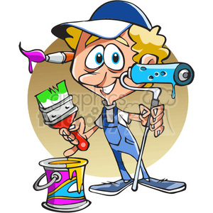 cartoon pinter holding roller brush clipart. Commercial use image # 390758