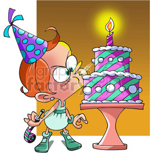 girls birthday party blowing candle clipart. Commercial use image # 390778