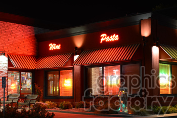 night scene restaurant photo. Royalty-free photo # 391297