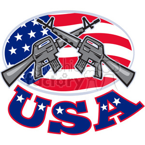 armalite rifle m 16 CROSSED USA clipart. Commercial use image # 391402