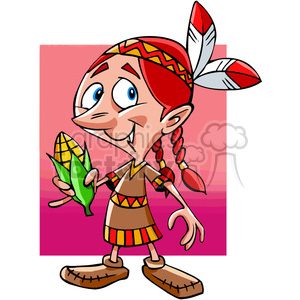 Native American girl holding corn cartoon clipart. Royalty-free image # 391464
