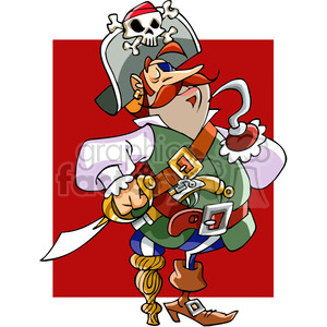 cartoon pirate with hook hand clipart. Royalty-free image # 391514