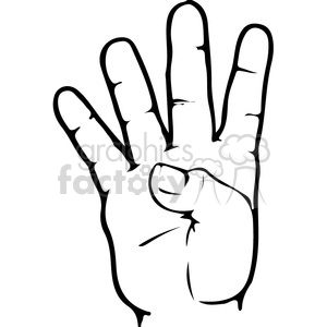 ASL sign language 4 clipart illustration clipart. Commercial use image # 391653