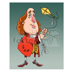 Benjamin Franklin cartoon caricature clipart. Commercial use image # 391668