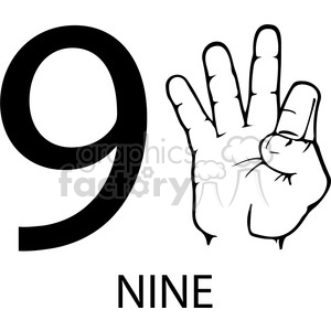 sign+language education numbers hand black+white 9 nine