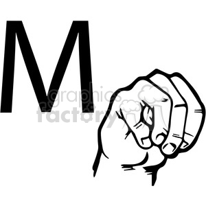 sign+language education letters hand black+white alphabet m