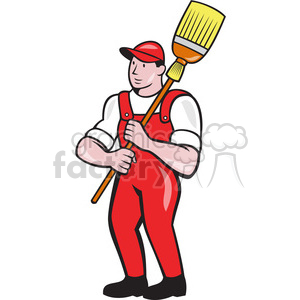 janitor with mop over shoulder shape