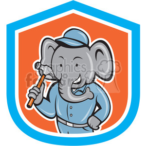elephant in builder outfit hammer in shield shape clipart. Commercial use image # 392350