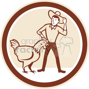 farmer chicken feeder in circle shape clipart. Commercial use image # 392370
