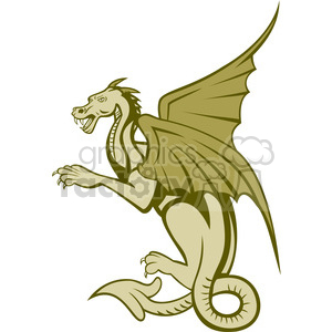 big dragon side GREEN shape clipart. Royalty-free image # 392410