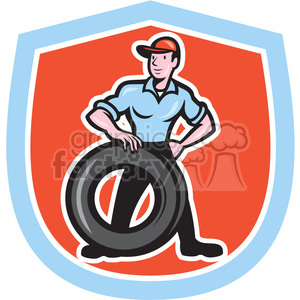 mechanic tire technician in shield shape clipart. Commercial use image # 392420