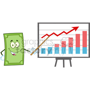 6855_Royalty_Free_Clip_Art_Smiling_Dollar_Cartoon_Character_With_Pointer_Presenting_A_Progressive_Chart clipart. Royalty-free image # 393071