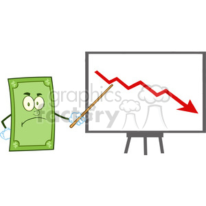 6858_Royalty_Free_Clip_Art_Angry_Dollar_Cartoon_Character_With_Pointer_Presenting_A_Falling_Arrow clipart. Royalty-free image # 393121