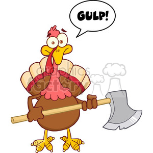 6891_Royalty_Free_Clip_Art_Turkey_With_Axe_And_With_Speech_Bubble clipart. Commercial use image # 393141