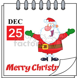 Royalty Free RF Clipart Illustration Christmas Holiday Calendar With Jolly Santa Claus With Open Arms clipart. Royalty-free image # 393173