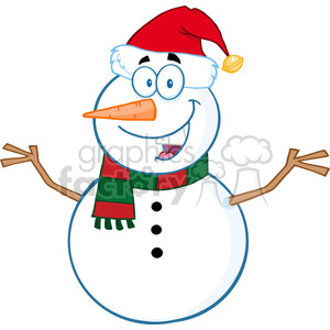 Royalty Free RF Clipart Illustration Happy Snowman Cartoon Mascot Character With Open Arms clipart. Royalty-free image # 393183
