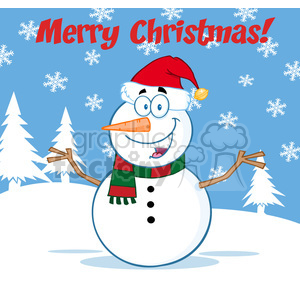 Royalty Free RF Clipart Illustration Happy Snowman Cartoon Mascot Character With Open Arms Under Merry Christmas Text clipart. Royalty-free image # 393186