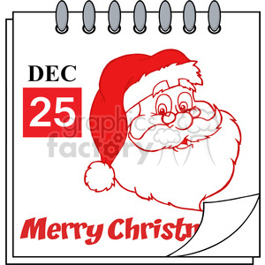 Royalty Free RF Clipart Illustration Christmas Holiday Calendar With Red Classic Santa Claus Head clipart. Royalty-free image # 393200