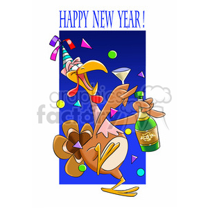 turkey celebrating new years party clipart. Royalty-free image # 393391
