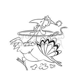 merry christmas turkey getting roped black white cartoon clipart. Commercial use image # 393401