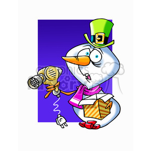 snowman with blow dryer clipart. Commercial use image # 393469