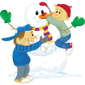 winter fun kids building a snowman clipart. Commercial use image # 393529