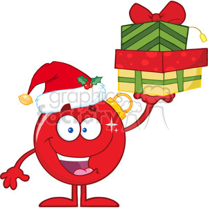 Happy Red Christmas Ball Cartoon Character Holding Up A Stack Of Gifts clipart. Royalty-free image # 393599