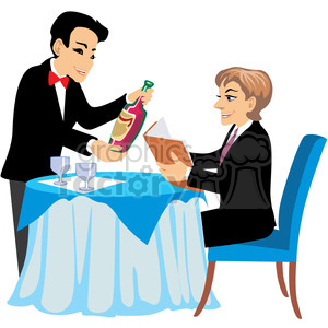 waiter serving wine at a restaurant clipart. Royalty-free image # 393660