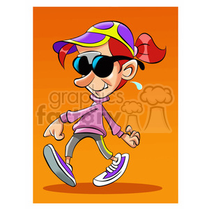 vector cartoon cool kid walking clipart. Royalty-free image # 393670