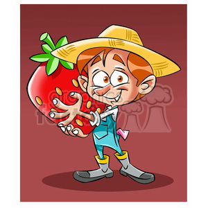 vector cartoon farmer holding a huge strawberry clipart. Royalty-free image # 393680
