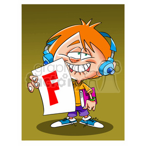 vector child holding up report card big F cartoon