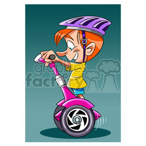 vector child on a segway cartoon clipart. Royalty-free image # 393710
