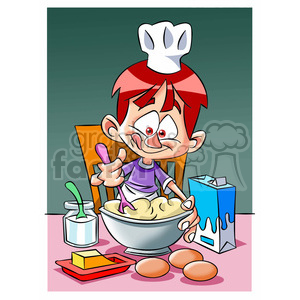 vector cartoon cook making food clipart. Commercial use image # 393760