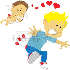 boy shot by cupids arrows vector clipart. Commercial use image # 393814