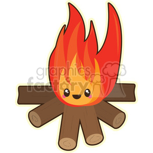 cartoon funny character cute fire campfire camping