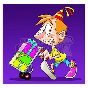 kid carrying gifts on a moving dolly clipart. Royalty-free image # 393880