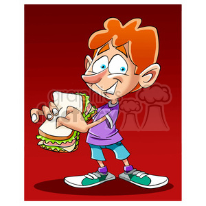 image of boy eating a sandwich sandwish clipart. Royalty-free image # 393980