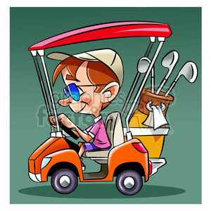 image of man driving a golf cart nino en carro de golf clipart. Royalty-free image # 394020