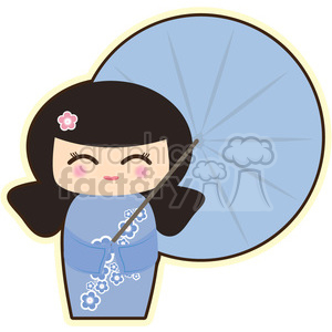 Geisha Umbrella cartoon character illustration clipart. Royalty-free image # 394130