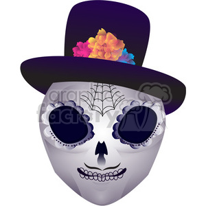 Day of the Dead skull head character illustration 2 clipart. Commercial use image # 394150
