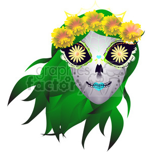 Day of the Dead skull illustration with green hair clipart. Royalty-free image # 394190