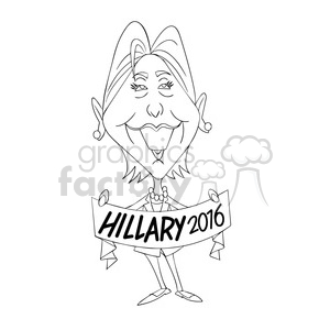 Hillary Clinton 2016 outline clipart. Royalty-free image # 394230